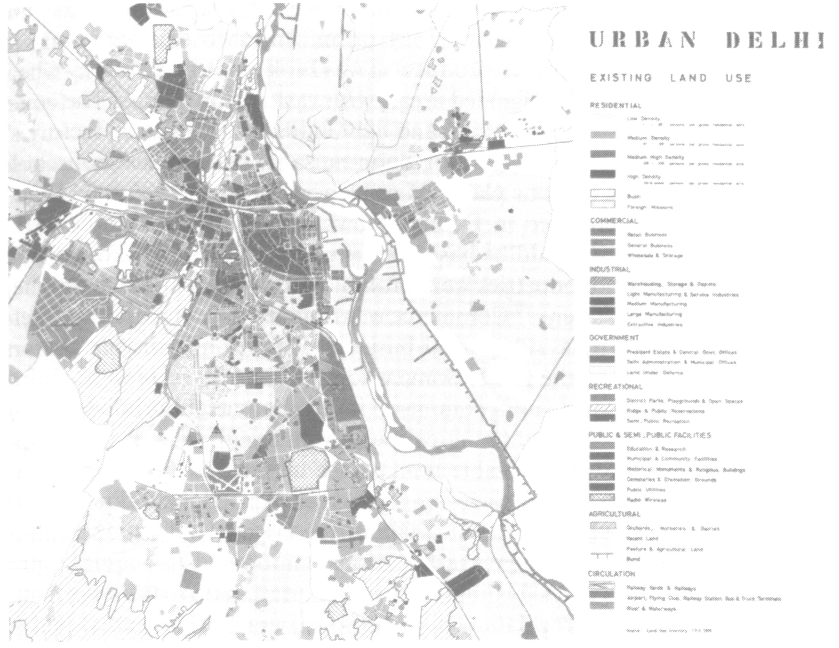 Figure 1: Map of Delhi, 1962. Source: Masterplan for Delhi, as cited in (Sundaram, 2009: 50).